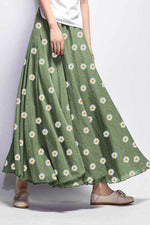 Holiday Daisy Print Maxi Skirt