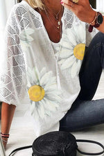 Sunflower Print Paneled Lace V-neck Casual Blouse