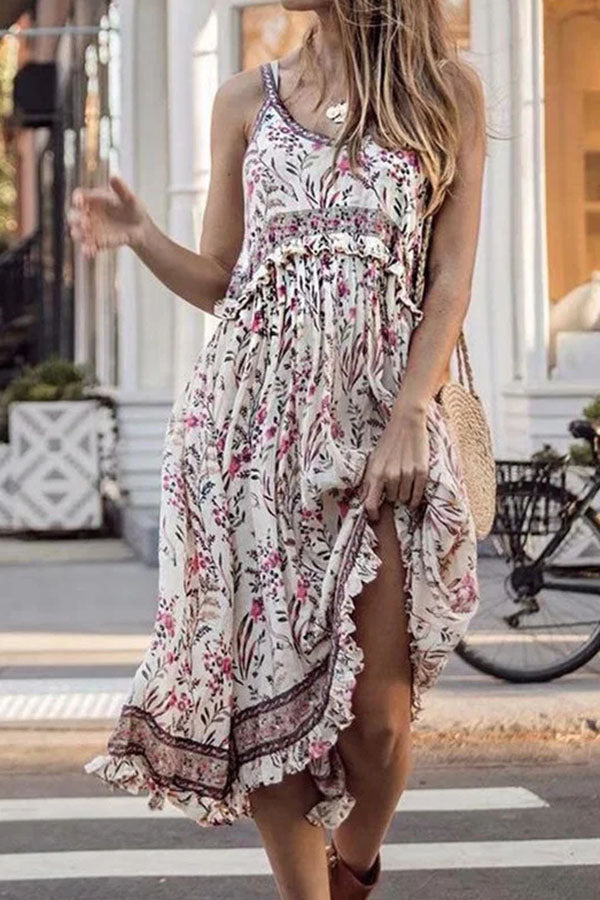 Bohemian Floral Print Spaghetti Ruffled Holiday Midi Dress