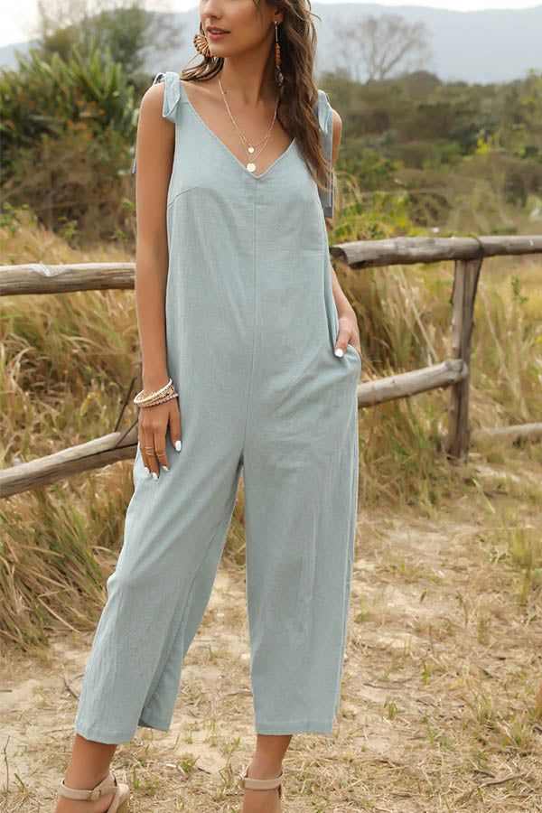 Casual Solid Sleeveless Tie Paneled Pockets Jumpsuit