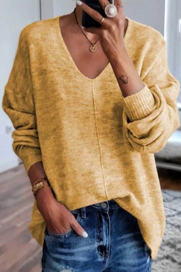 Simple Style Solid Paneled V-neck Knitted Ribbed Sweater
