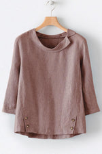 Solid Long Sleeve Buttoned T-shirts