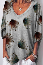 V-neck Feather Print Half Sleeves Paneled Casual T-shirt