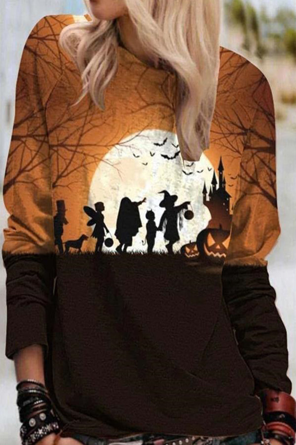 Color-block Wizard Elves Character Bat Castle Pumpkin Print Halloween Sweatshirt