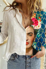 Frida Kahlo Women Color Painting Color-block Peony On Head Print Casual Blouse
