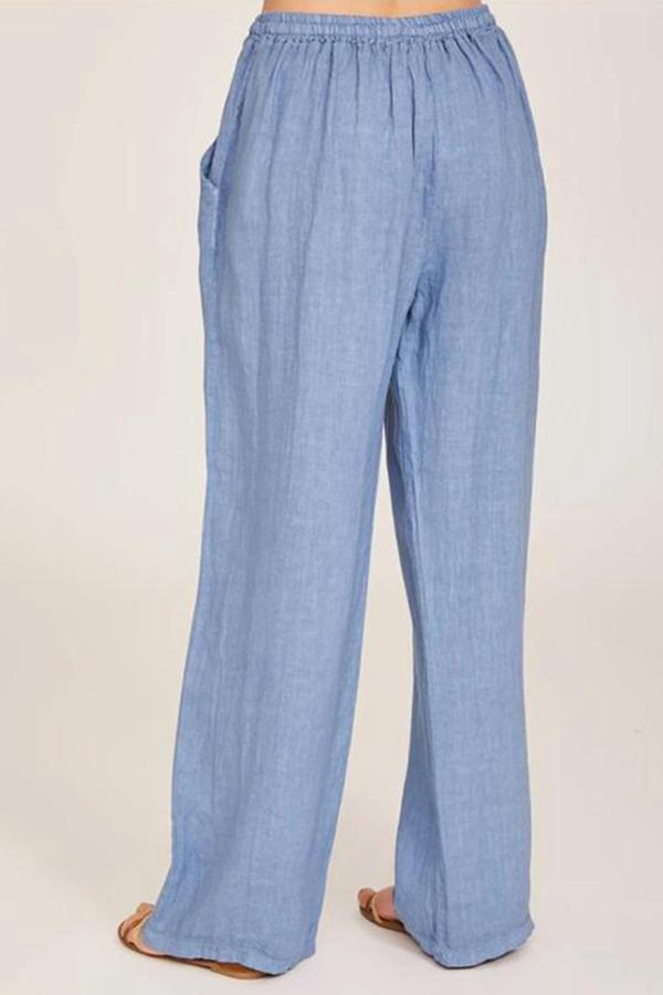 Casual Solid Side Pockets Self-tie Pants