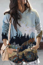 Vintage Landscape Gradient Mountain Forest Bird Print Hoodie