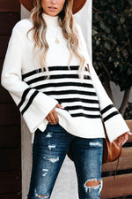 Turtleneck Striped Jacquard Knitted Ribbed Bell Sleeves Casual Sweater