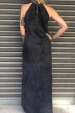 Skull Print Halter Neck Sleeveless Casual Slit Maxi Dress