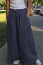 Solid Side Pockets Self-tie Casual Wide Leg Pants