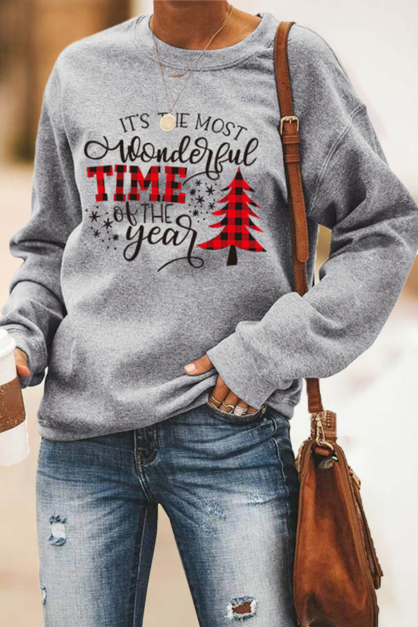 Its The Most Wonderful Time Of Year Christmas Tree Print Sweatshirt