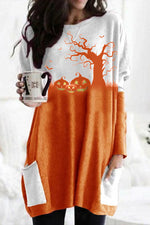 Halloween Trunk Pumpkin Print Color-block Party T-shirt