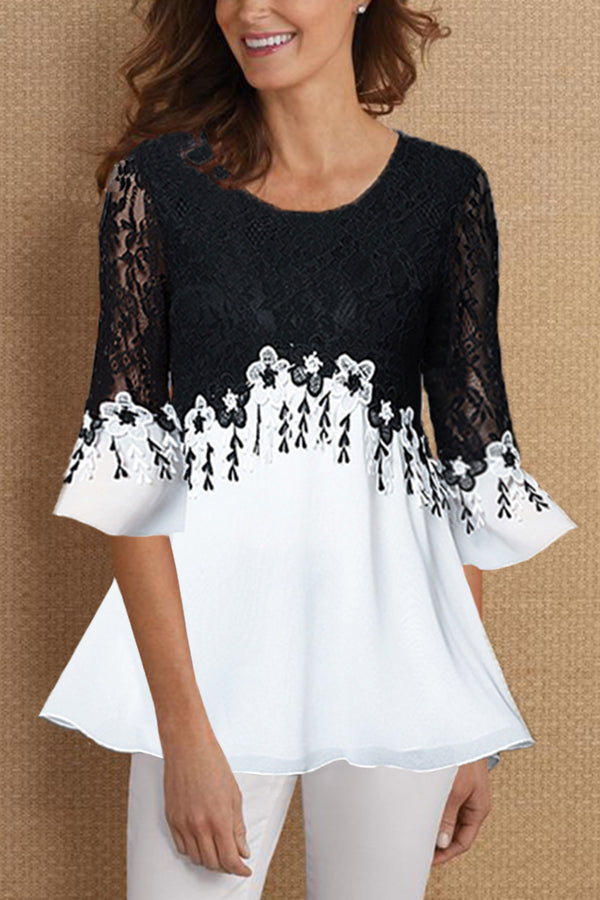 Paneled Floral Lace Elegant Bell Sleeves Chiffon Blouse