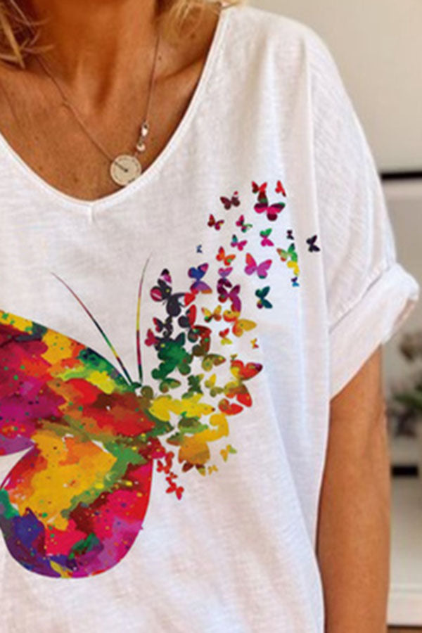 Colorful Butterfly Print Paneled V-neck Casual T-shirt