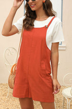 Solid Paneled Buttoned Side Pockets Casual Romper