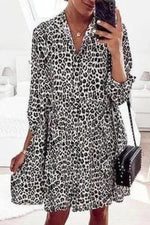 Elegant Leopard Print Buttoned Shirt Collar Mini Dress