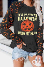 Its Always Halloween Inside My Head Pumpkin Print Paneled Sweatshirt