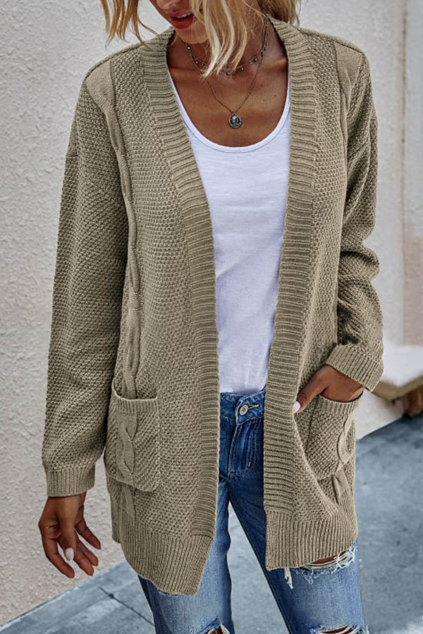 Knitted Solid Paneled Ribbed Tweed Side Pockets Holiday Cardigan