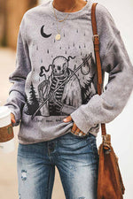 Skull Smoking In The Rainy Day Print Halloween Treetop Landscape Sweatshirt