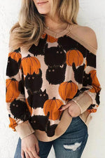 Halter Neck Halloween Fashion Cartoon Black Cat Pumpkin Print Sweatshirt