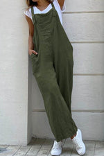 Solid Paneled Sling Casual Side Pockets Wide Leg Jumpsuit