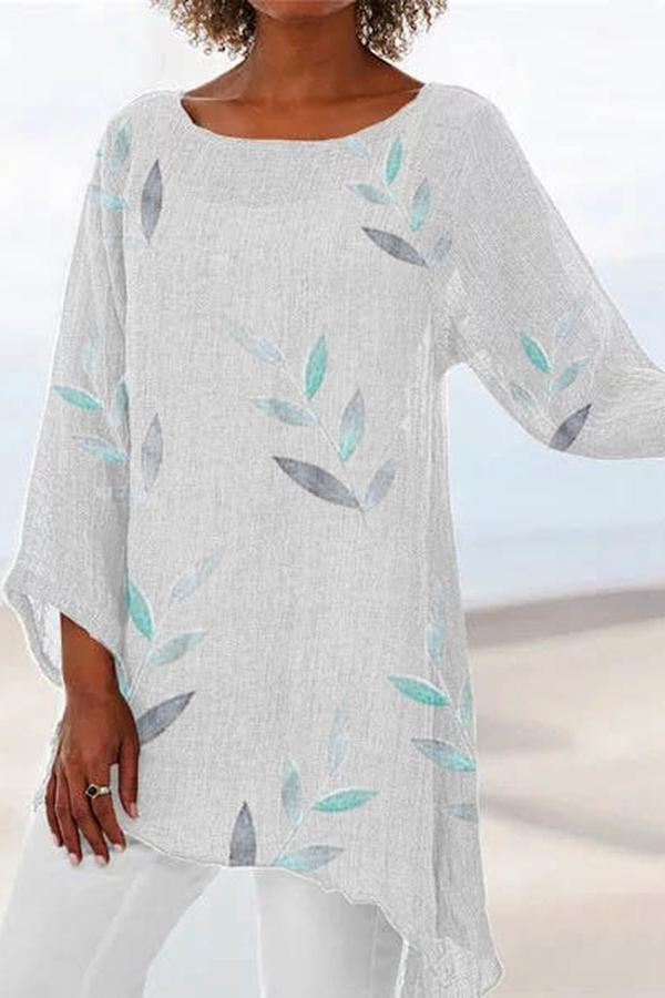 Leaf Printed 3/4 Sleeves Irregular T-shirts