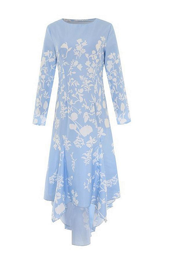 Floral Print Long Sleeve Asymmetric Hem Maxi Dress