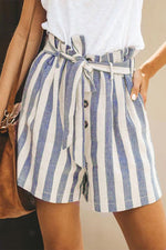 Buttoned Self-tie Casual Stripe Pockets Short Pants