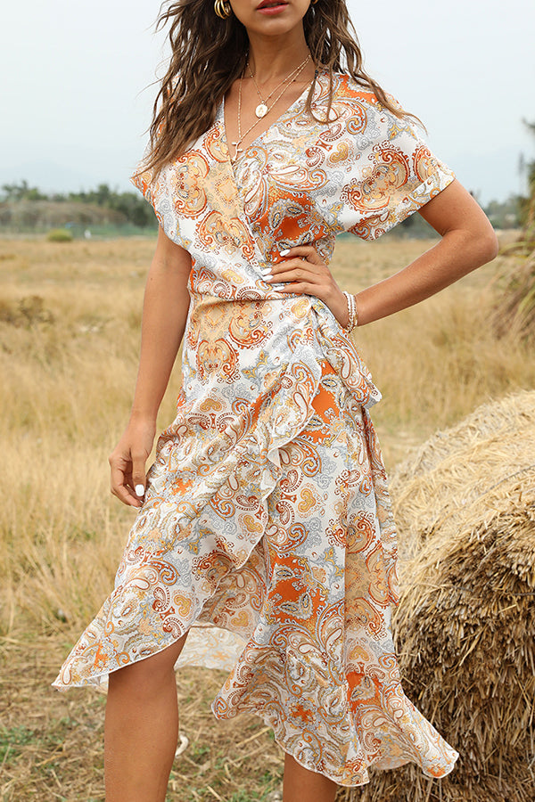 Bohemian Print Cross Front High Low V-neck Ruffled Midi Dress