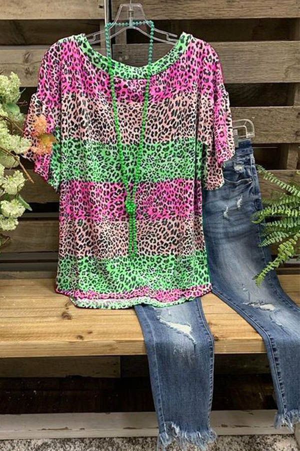 Color-block Leopard Print Casual Short Sleeves Blouse