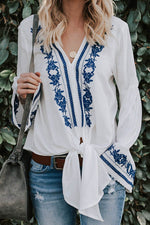 Blue And White Porcelain Floral Print V-neck Bell Sleeves Holiday Blouse