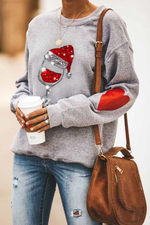 Shining Red Wine Glass With Christmas Hat Heart Print Casual Sweatshirt