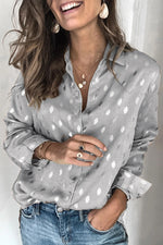 Bronzing Polka Dots Paneled Buttoned Blouses