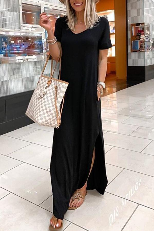 Solid Side Pockets V-neck Casual Slit Maxi Dress