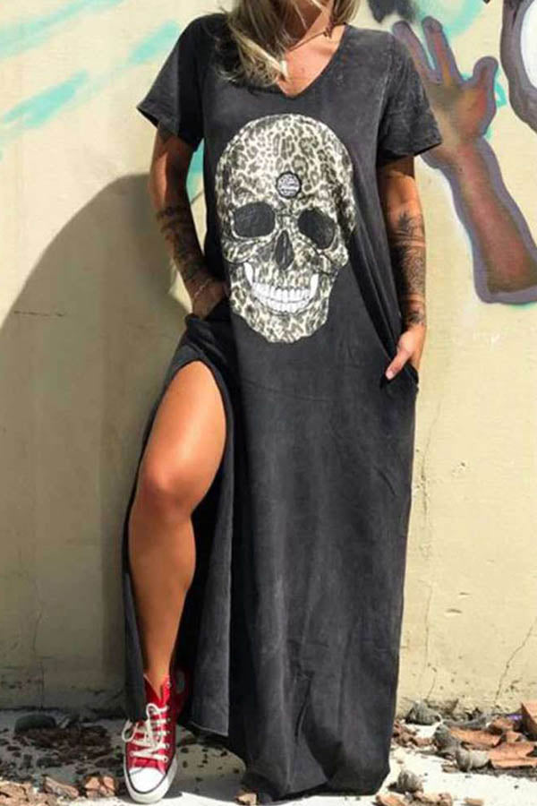 Skull Print Paneled V-neck Casual Slit Maxi Dress