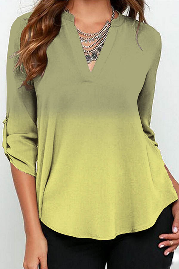 Gradient Print V-neck Paneled Curved Hem Chiffon Casual Blouse