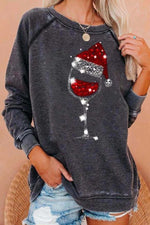 Red Wine Glass With Christmas Hat Print Casual Sweatshirt