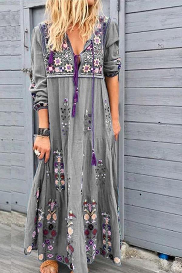 Bohemian Floral Print V-neck Drawstring Holiday Maxi Dress