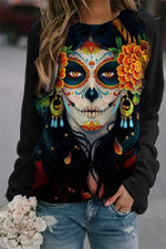 The Day Of The Dead Ghost Face Vintage Floral Headwear Print Halloween Sweatshirt