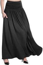 Solid Side Pockets Pleated Casual Maxi Skirts
