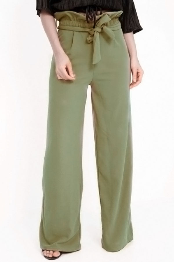 Solid Frill Self-tie Casual Pants