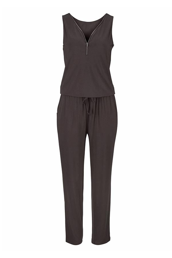 Zipper Drawstring Pockets Sleeveless Jumpsuits