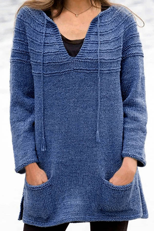 Basic Solid Knitted Drawstring V-neck Striped Embossed Sweater