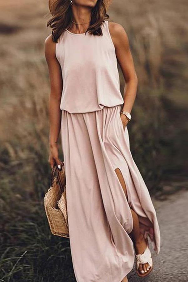 Sleeveless Holiday Paneled Elastic Pockets Slit Maxi Dress
