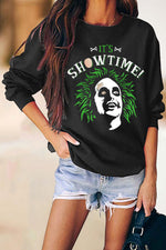 Its Show Time Green Water Ghost Halloween Print Sweatshirt