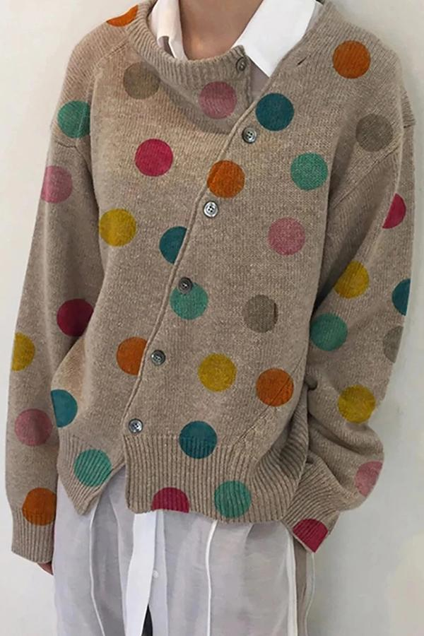 Asymmetric Polka Dots Print Buttons Down Ribbed Knitted Casual Cardigan
