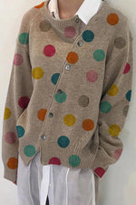 Asymmetric Single Breasted Polka Dot Cardigan