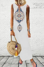 Bohemian Print V-neck Sleeveless Vintage Maxi Dress