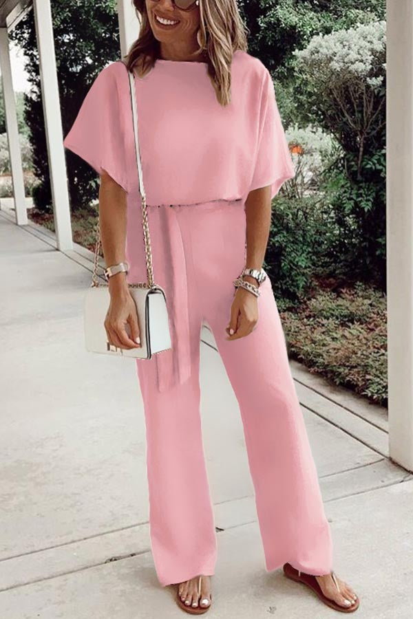 Solid Self-tie Casual Short Sleeves Jumpsuits