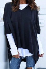 V-neck High Low Drawstring Hooded Sweatshirts